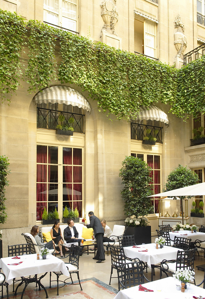 The relaxing ambiance at the Patio of the Hôtel de Crillon Paris, France