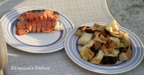 Grilled Vegetable and Lobster Salad: Grilled Lobster and Bread