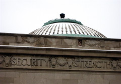 American State Bank (chicagogeek) Tags: 1920s snow detail building illinois terracotta bank security ornament dome limestone pointandshoot strength berwyn 1925 951 nationalregisterofhistoricplaces nrhp berwynnationalbank americanstatebank 6801cermakroad 00000951