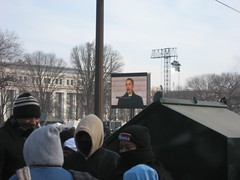 Obama speaking at the Lincoln Memorial