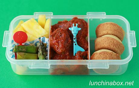 Meatball bento lunch for preschooler
