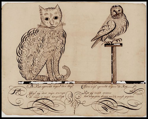 Owl and Cat calligraphy