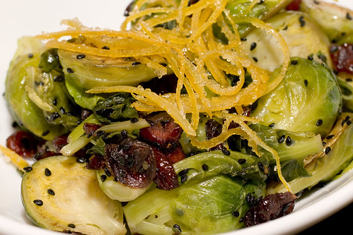 Brussel Sprouts with Cranberries & Candied Lemon Zest 1
