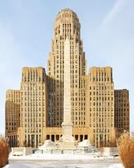 Buffalo City Hall & McKinley Monument, Buffalo, NY (DSE_1595) (masinka) Tags: city winter sculpture ny newyork monument architecture floors 1931 sunrise paul jones hall high buffalo d
