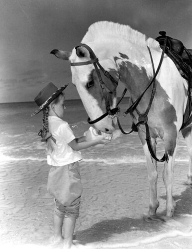 "Janie Irvine gives water to ""Patches"" from surf: Pass-a-Grille Beach, Florida"