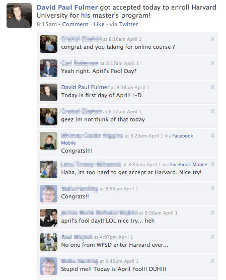 Zana Witherspoon The Collection Of Funny Facebook Status Updates Funny April Fools