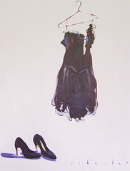 The Black Number (davidisbester) Tags: art female painting dance dress clothes now oilpainting stilettoes blackdress blackshoes heals australianart blacknumber tonalist davidisbester isbester tonalistpainting