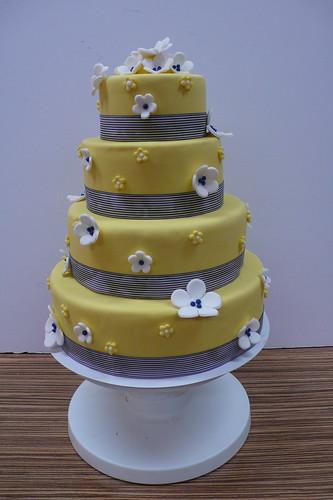 Classic Yellow Navy wedding cake