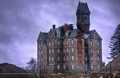 Worcester State Hospital (Michael_Underwood) Tags: building abandoned rain hospital insane state massachusetts clocktower nikkor lunatic asylum hdr worcester 1685 worcesterstatehospital kirkbride nikond90 nikon1685vr