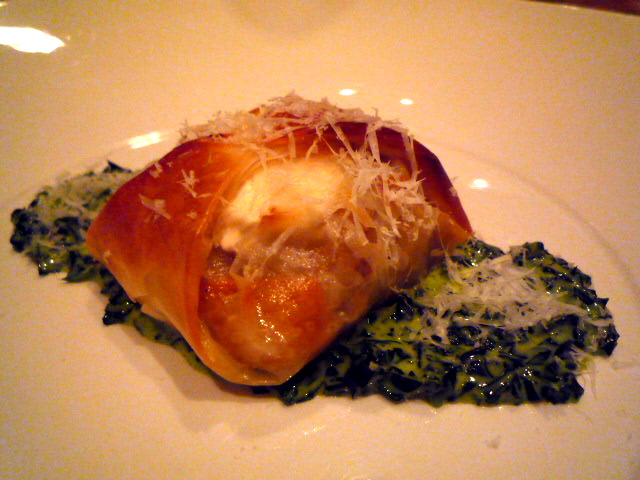 Filo parcel with pumpkin, porcini and Meredith goats cheese risotto, on creamed spinach
