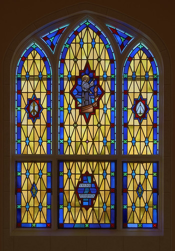 Saint Norbert Roman Catholic Church, in Hardin, Illinois, USA - stained glass window of Father Marquette