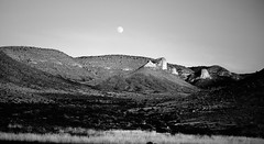 Circle Landscape with Moon in BW (peterlfrench) Tags: nature rural landscape october texas rustic highdesert westtexas 2008 hudspethcounty circleranch 101208 dsc8445 pfrench99