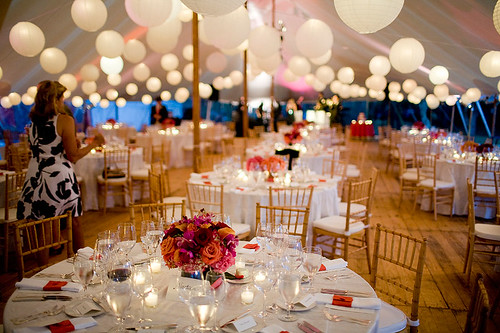 The centerpieces varied from a single multicolored arrangement to three