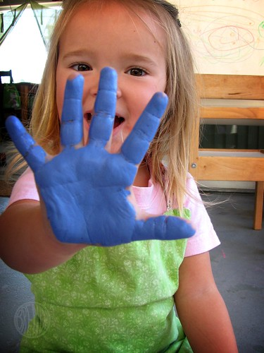 paint on a child's hand