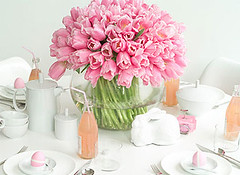 Easter: Pink Tulip Centerpiece (camillestyles) Tags: pink easter tulips parties decor tabletop springtime centerpieces