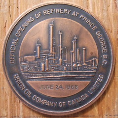 BRITISH COLUMBIA, PRINCE GEORGE REFINERY, 1968 MEDALLION ---a