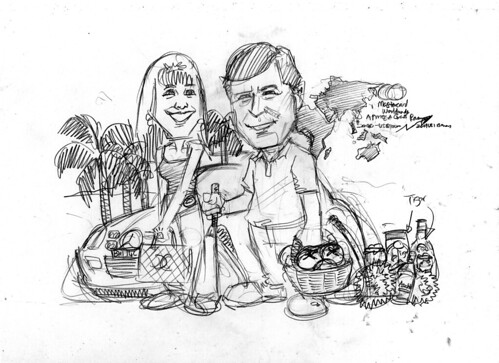 Couple caricatures for Mastercard Mr & Mrs Sekulic pencil sketch 2