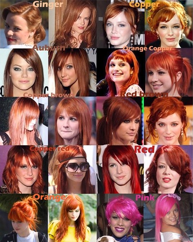 Red orange pink hair color