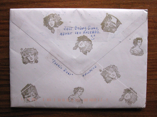 Lady-head stamped envelope, back