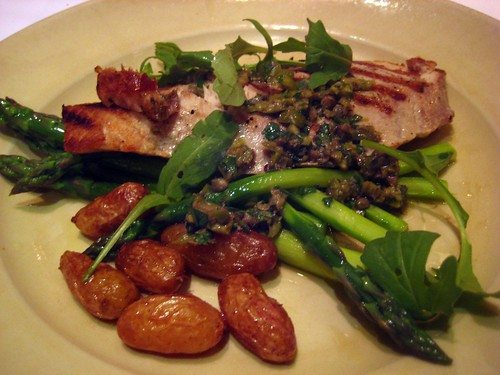 yellowtail jack, asparagus, fingerling potatoes, green olive sauce at chez panisse cafe.