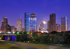 Moonrise Over Houston Skyline (Jim | jld3 photography) Tags: park street city longexposure bridge urban usa moon skyline architecture night buildings downtown cityscape texas skyscrapers nightshot houston overpass midtown moonrise skate sabine enron downtownhouston nofilters nohdr eleanortinsley thankyouvickie joejamail