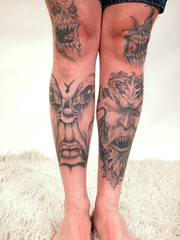 Tattoos covering my knees and shins (Trucker Tom) Tags: face tattoo neck head tattoos facial tattooing scalp tattooed
