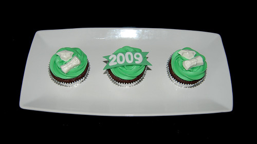 Green and White High School Graduation Cupcakes Class of 2009