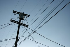 Day 12 (colonelchi) Tags: sky lines wire power transformer pole powerlines wires connections yearinphotos