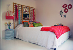 my bedroom (kimhas7cats) Tags: pink light red white cane vintage painting bed ebay fringe screen bamboo pillow thrift headboard oil scarves bargello decor fixture pendant bedspread chenille coverlet