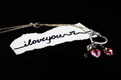 (KaylaKandzorra) Tags: pink cute love silver paper hearts necklace message crystal quote iloveyou swarovski 365 onblack locket