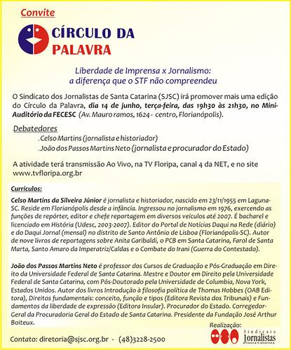 CÍRCULO DA PALAVRA: 14/06/2011 by Imprensa SJSC