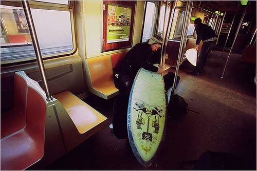 Surfboard on the NYC subway
