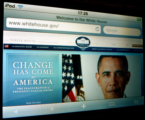 Whitehouse.gov webpage on the iPod Touch - US Presidential Inauguration - Screencap - by Scorpions and Centaurs