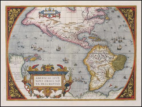 AM - Abraham Ortelius 1595 in Antwerp Americae Sive Novi Orbis Nova Descriptio raremaps