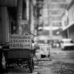 i have chased the sun every day for money (memetic) Tags: china bw 6x6 buildings uncut shoe blackwhite poem bokeh tmax theend chinese demolition 100  cart cleaner vanishing tianjin rubble thebeginning  arax60 disappearing r