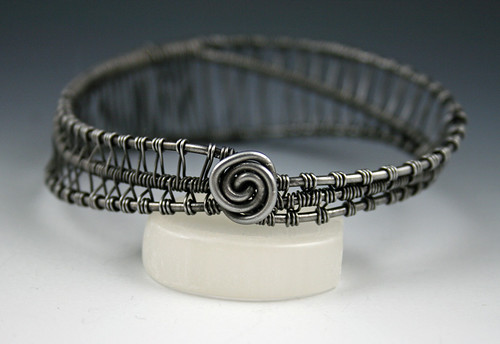 black annealed steel bangle bracelet