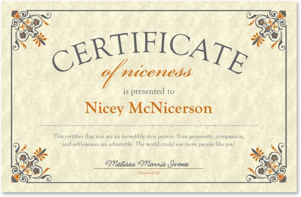NICE Certificate