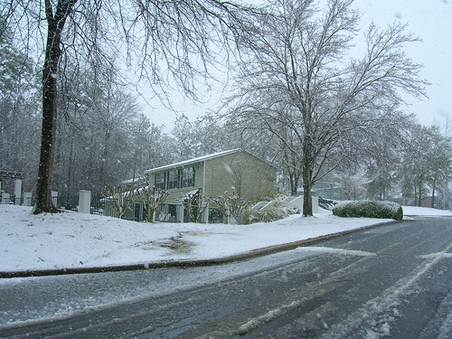 The office building in the snow,