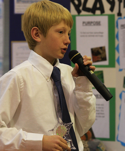 Young student giving a speech