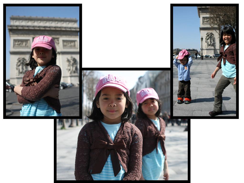 twin girls:Arc de Triomphe, Paris