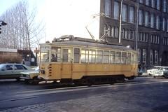 Wrocław Tramwaj - Pre-war Standard LH Tram - Arbeitswagen G-034, ex-nr. 1190, at the Technikum Elektroniczne , ul.Piłsudskiego, November 1989