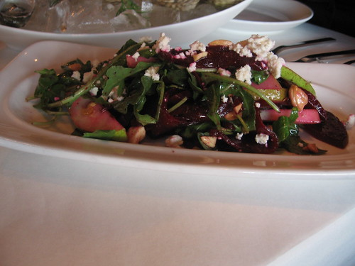Beets, pears, greens, feta and almonds salad