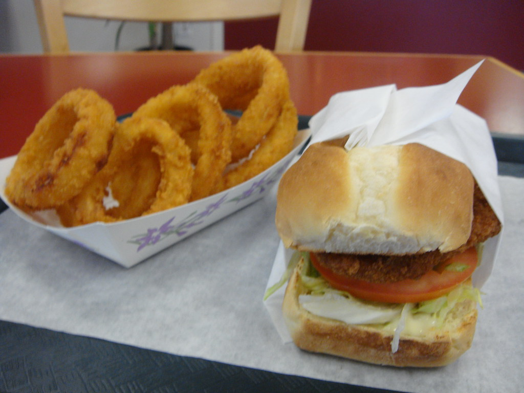 Crispy Fish Sandwich and Onion Rings