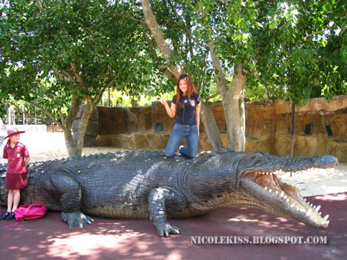posing with fake crocodile