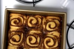 cinnamon buns, cooling