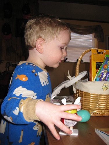 erik discovering his easter basket