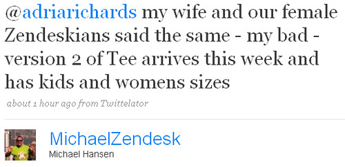 Zendesk tweet about t-shirts for women