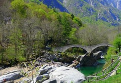 Verzasca bridge -  , (Ginas Pics) Tags: travel sea vacation holiday hot water island 1 switzerland tessin ticino suisse idyllic travelphotography ginaspics  valleverzasca traveldestination summersunshine mywinners platinumphoto anawesomeshot overtheexcellence concordians   sunnyparadise clearwaters gettyvacation2013