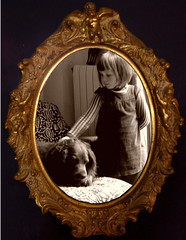 Alicia and Heleima (Annie in Beziers) Tags: friends dog chien france childhood sepia photoshop alicia framed explore victoriana babysitting pinafore cherubs oldfashioned bziers bej annieinbziers heleima