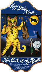 The Cat and the Fiddle (faith goble) Tags: moon color art illustration cat painting stars cow artist acrylic poem photographer dish kentucky ky faith vivid spoon canvas laugh poet writer fiddle littledog bowlinggreen nurseryrhyme catandthefiddle bowlinggreenky goble firsthand woodplaque bowllinggreen faithgoble gographix originalpainitingbyfaithgoble faithgobleart thisisky